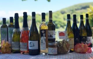 Wine bottles and local products
